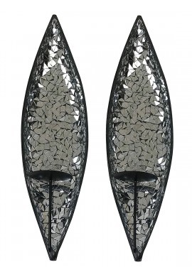 "DecorShore Silver Lake ""Bella Palacio"" Mirrored Glass Mosaic & Metal Wall Mounted Decorative Candle Holder Wall Sconce, Set of 2 Large Size 18 in. Light Weight Wall Decor"