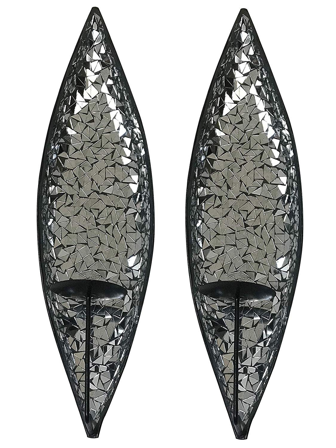 Decorshore Silver Lake Bella Palacio Mirrored Glass Mosaic Metal Wall Mounted Decorative Candle Holder Wall Sconce Set Of 2 Large Size 18 In Light Weight Wall Decor Decorshore