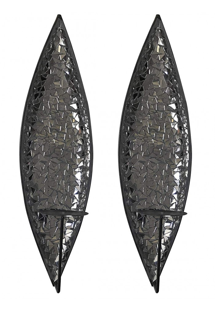 "DecorShore Silver Lake ""Bella Palacio"" Mirrored Glass Mosaic & Metal Wall Mounted Decorative Candle Holder Wall Sconce"