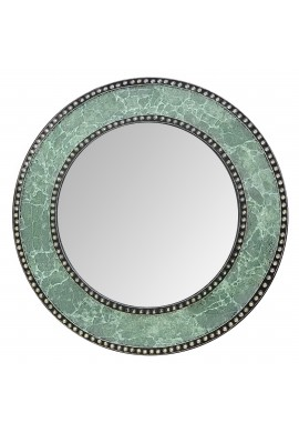 "24"" Green Mosaic Decorative Handmade Crackle Glass Design Round Mosaic Accent Wall Mirror by DecorShore"