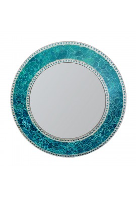 "24"" Sapphire Round Wall Mirror, Handmade Crackled Glass Mosaic Tile Framed, Decorative Design by DecorShore"