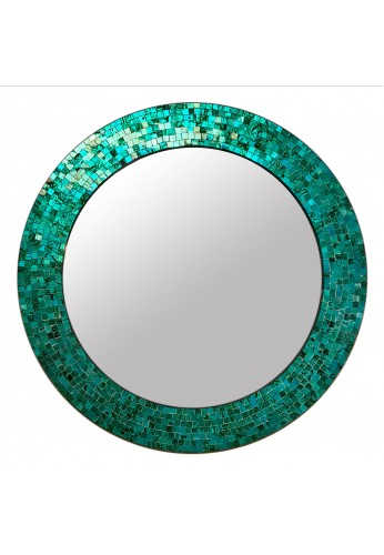 """24"""" Turquoise, Handmade Round Decorative Glass Mosaic Tile Framed Accent Wall Mirror by DecorShore"""