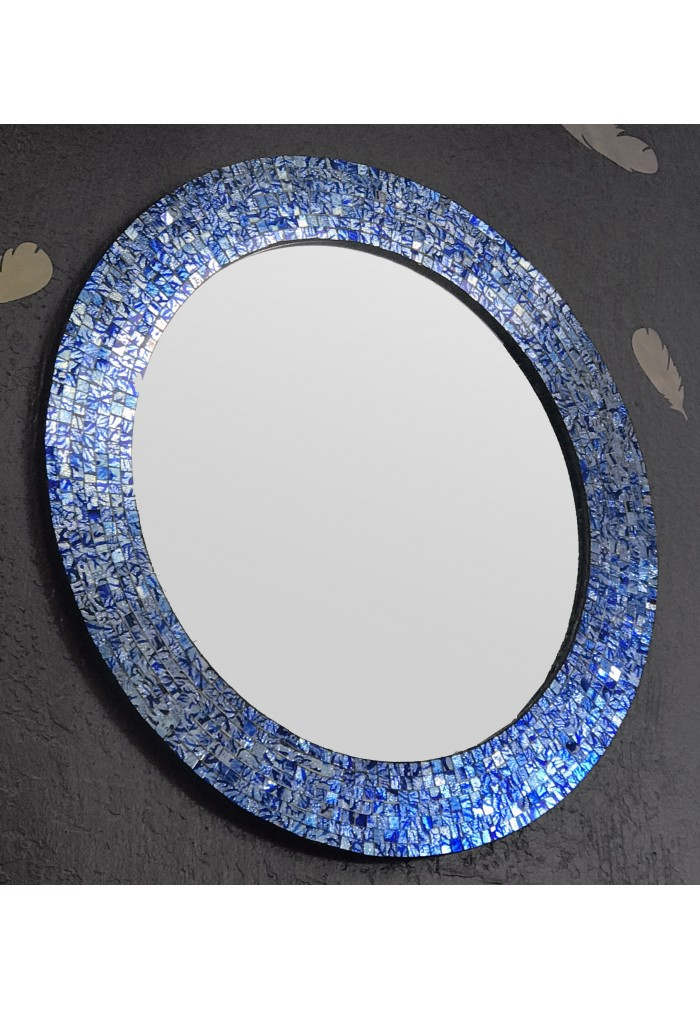 "24"" Sapphire and Silver, Handmade Round Decorative Glass Mosaic Tile Framed Accent Wall Mirror by DecorShore"