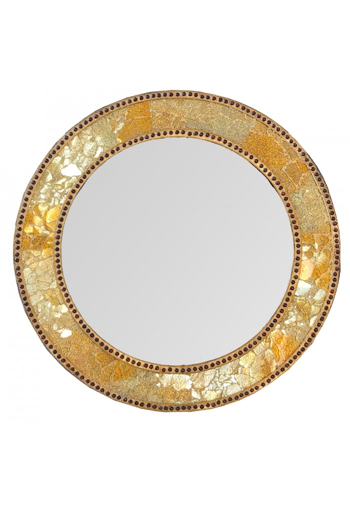 "24"" Gold, Round Wall Mirror, Crackled Glass Mosaic, Decorative Design by DecorShore"