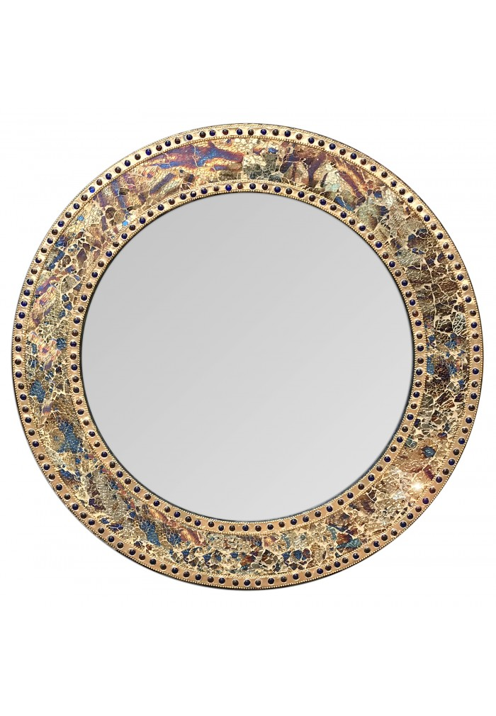 "24"" Fired Gold, Round Wall Mirror, Handmade Crackled Glass Mosaic Accent Wall Mirror, Decorative Design by DecorShore"