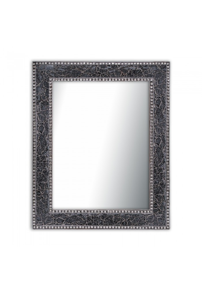 Black / Gray Crackled Glass Decorative Wall Mirror