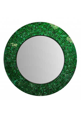 "DecorShore 24"" Traditional Glass Mosaic Mirror, wall mirror, decorative wall mirror (Emerald Green Metallic)"