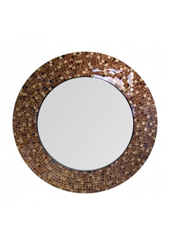 "24"" Brown Traditional Decorative Mosaic Wall Mirror, Handmade Mosaic Framed Round Accent Wall Mirror by DecorShore"