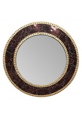 24 Inch Brown Mosaic Decorative Wall Mirror, Handmade Crackle Glass Design, Round Mosaic Accent Wall Mirror by DecorShore