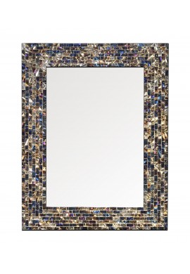 "18""x24"" Multi-Colored and Gold Luxe Mosaic Glass Framed Wall Mirror, Handmade Decorative Rectangular Wall Mirror by DecorShore"