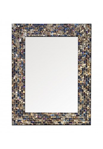 """18""""x24"""" Multi-Colored and Gold Luxe Mosaic Glass Framed Wall Mirror, Handmade Decorative Rectangular Wall Mirror by DecorShore"""