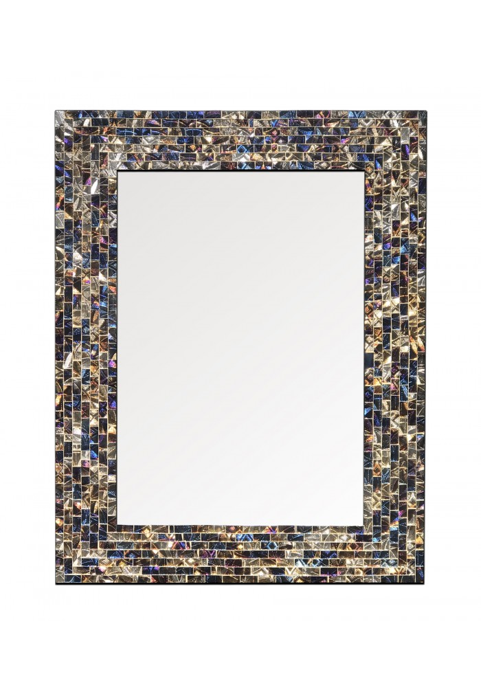 "Multi-Colored & Gold, Luxe Mosaic Glass Framed Decorative Mosaic Rectangular Wall Mirror, (18""x24"")"
