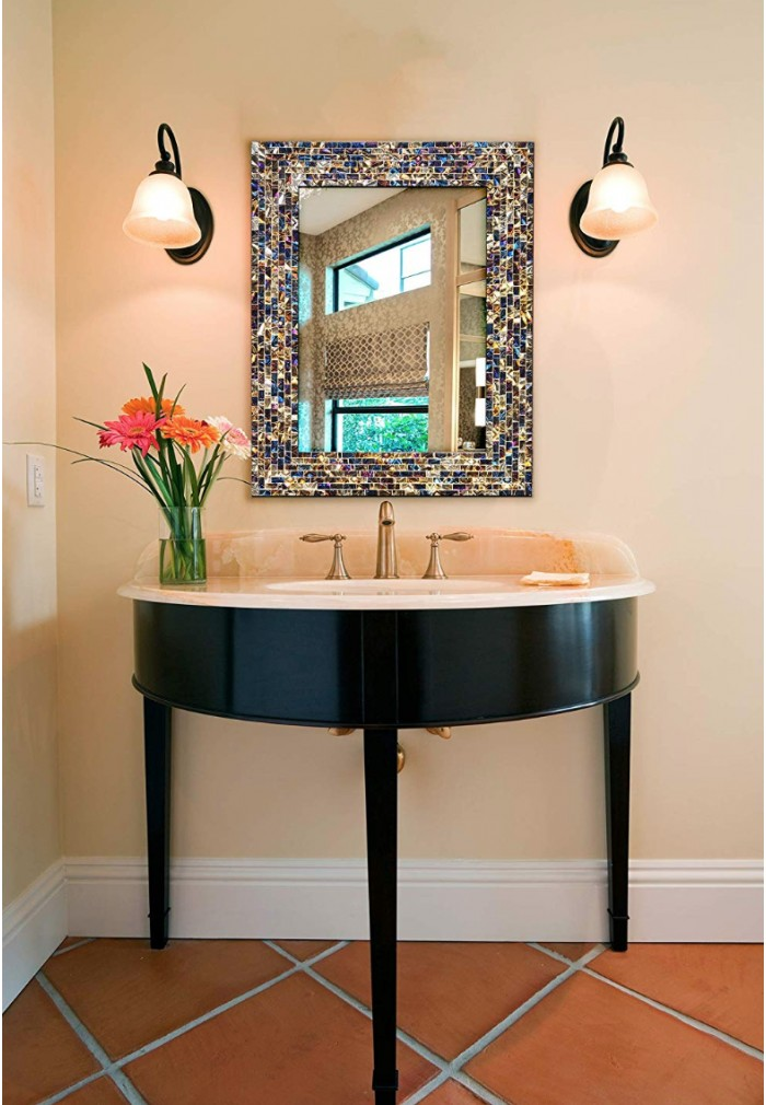 Multi-Colored & Gold, Luxe Mosaic Glass Framed Decorative ...