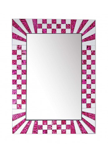 DecorShore South Beach Collection Pink Decorative Wall Mirrors with Colorful Glass Mosaic Tiles