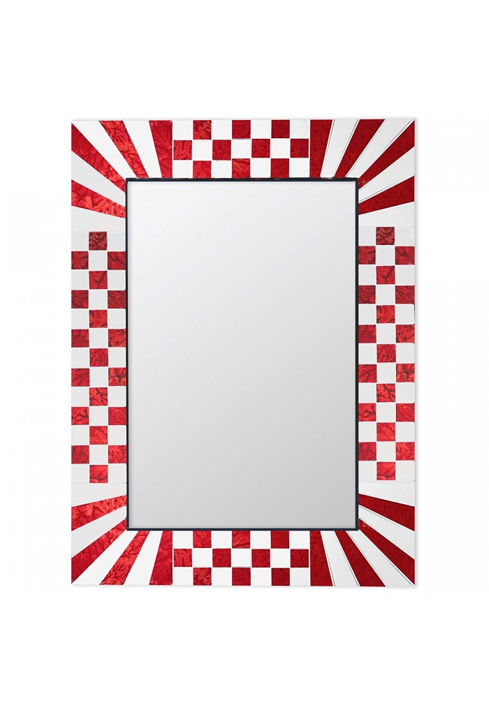DecorShore South Beach Collection Red Decorative Wall Mirrors with Colorful Glass Mosaic Tiles