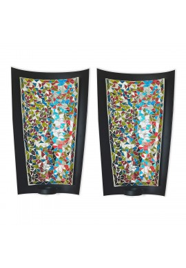 DecorShore 15 in Mosaic Wall Sconce Set of 2 Tealight Candle Holders - Abstract Metal Wall Art Candle Sconces Pair