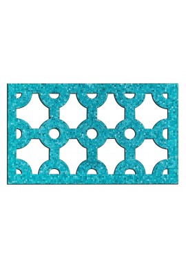 DecorShore Bella Palacio Mosaic Lattice Wall Decor. Decorative Wall Hanging, Artisan Fretwork Wooden Wall Plaque with Teal Blue Glass Tiles