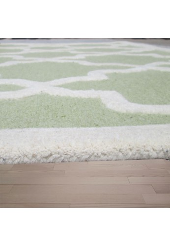 Lime Green and Ivory Hand-Tufted Area Rug, 100% Natural Wool Moroccan Trellis Design, Plush Hi/Low Cut Pile by DecorShore