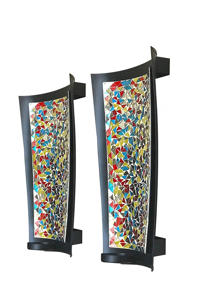 DecorShore Mosaic Wall Sconce Set of 2 Tealight Candle Holders - Abstract Metal Wall Art Candle Sconces Pair