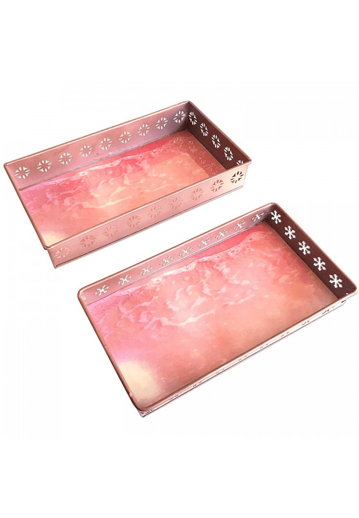 DecorShore Designs Set of 2 Iron Metal Decorative Trays with Rose Gold Finish and Vibrant Pink Sands Beach Graphic Print