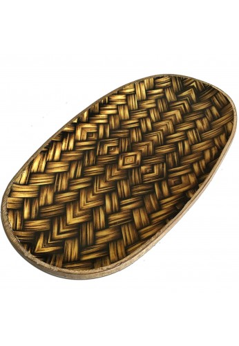 DecorShore Decorative Wooden Tray with Basket Weave Print Design, Genuine Carved Mango Wood Tray 13x8 inches
