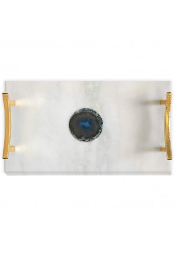 DecorShore Luxe Designs Decorative Genuine Marble Tray in White with Authentic Blue Agate Slice 16x9 and Shiny Gold Finish Handles, Large Size