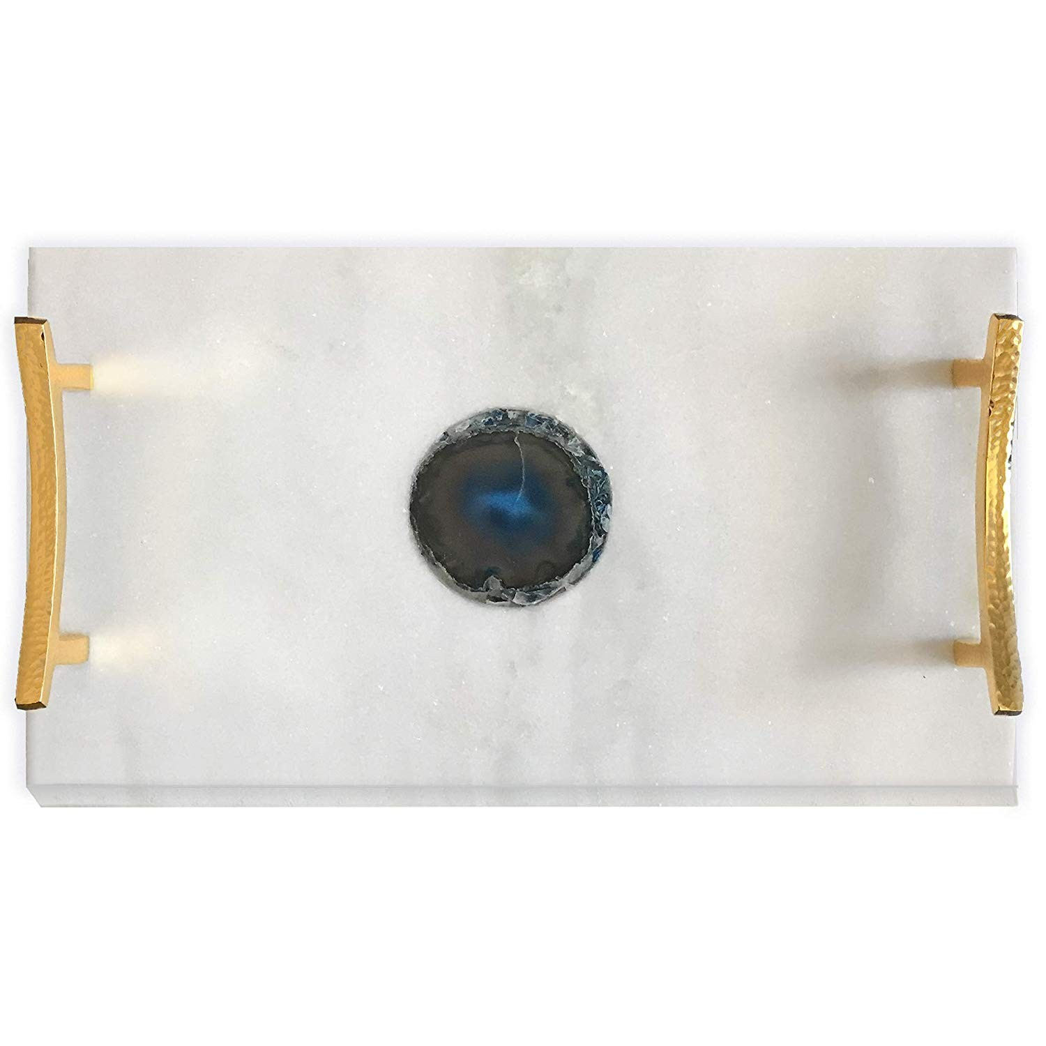 Decorshore Luxe Designs Decorative Genuine Marble Tray In White With Authentic Blue Agate Slice 16x9 And Shiny Gold Finish Handles Large Size Decorshore