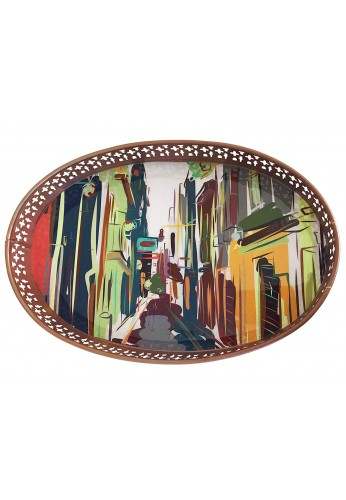 DecorShore Designs Decorative Tray 15x8x2 inch Metal Tray with Colorful Graphic Art Painting of Eurpoean City Streets