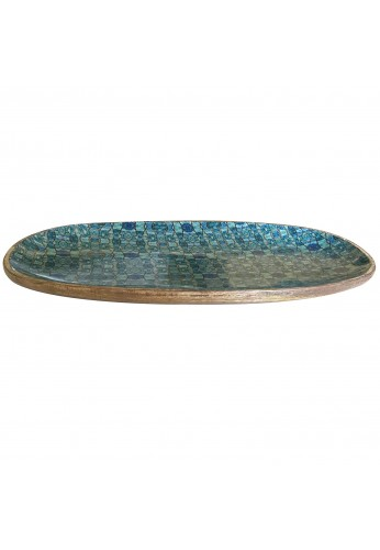 DecorShore Decorative Genuine Carved Mango Wood Tray with Abstract Floral Print Design 13x8 inches