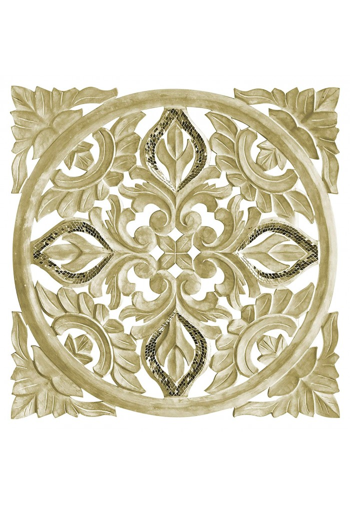 Hand Carved 24 in. Decorative Wood Wall Panel in Rustic Golden Ivory Floral Scroll Relief Wall Sculpture with Mirrored Glass Mosaic Accents Three Dimensional Home Decor Accents in Square Shape