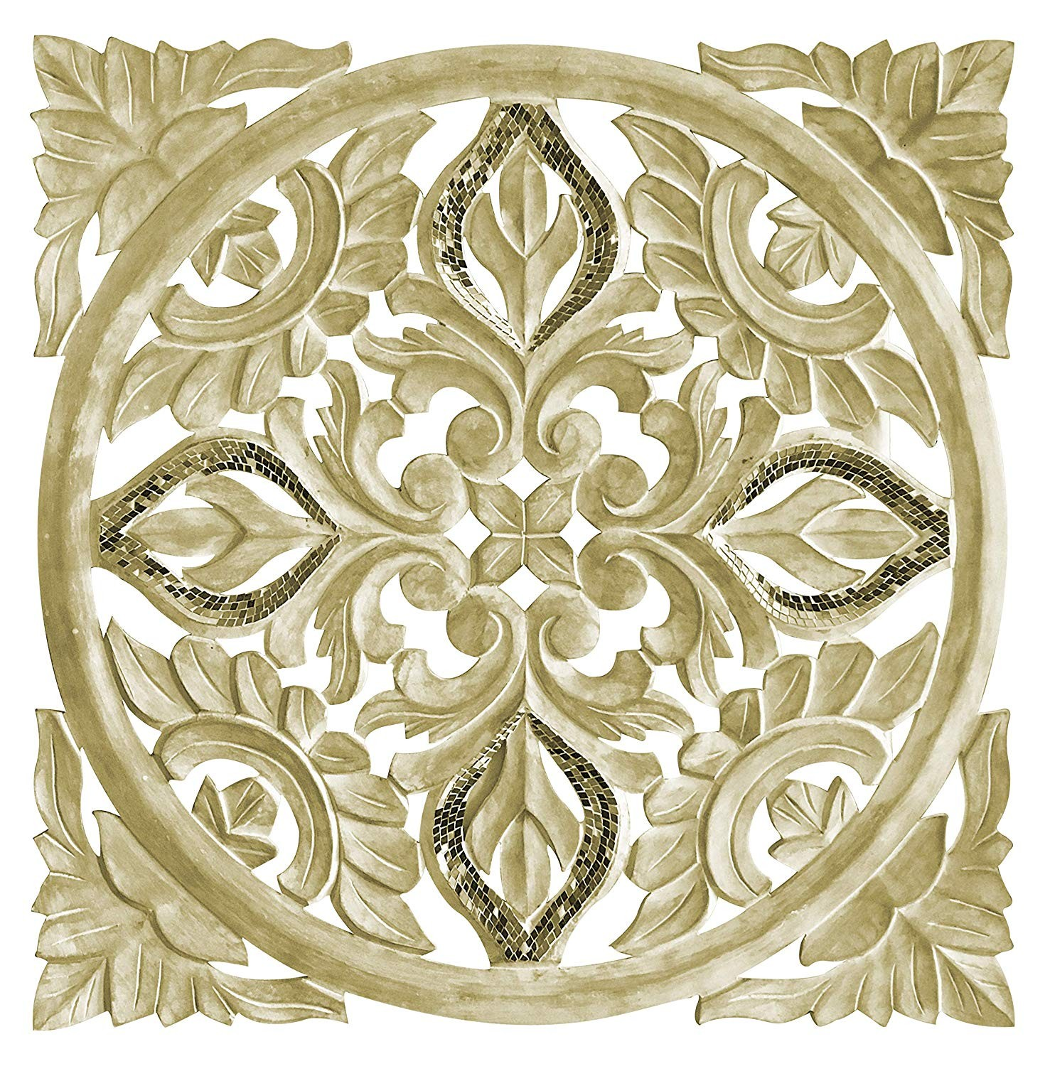 Hand Carved 24 In Decorative Wood Wall Panel In Rustic