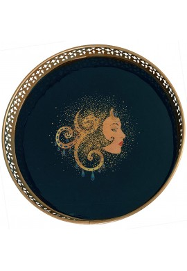 DecorShore Designs Decorative Tray 13x13x2 inch Metal Tray with Mystical Princess Illustration in Blue and Brushed Gold