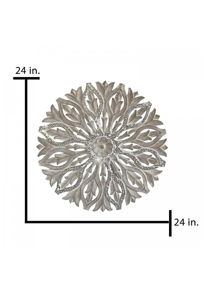 Hand Carved 24 in. Decorative Wood Wall Panel in Rustic Ivory Floral Scroll Relief Wall Sculpture with Mirrored Glass Mosaic Accents Three Dimensional Home Decor Accents in Round Shape
