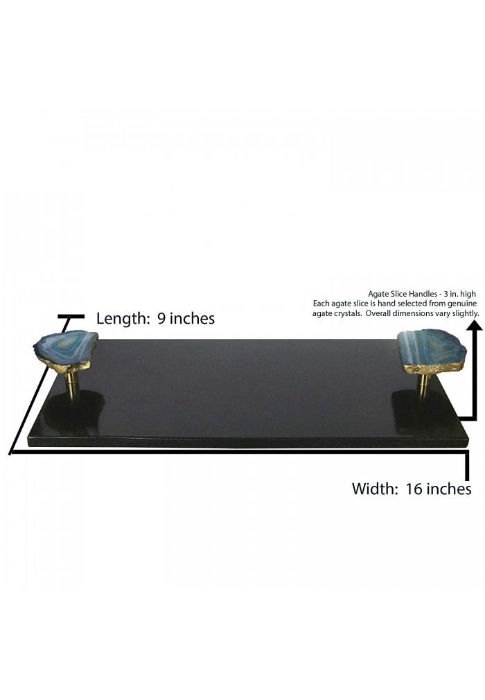 DecorShore Luxe Designs 16x9 Large Decorative Genuine Black Marble Granite Tray with Authentic Blue Agate Slice Handles