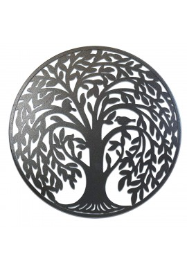 Round Metal Wall Art Decorative Wall Sculpture Natural Sanctuary Tree of Life Hanging Wall Decor in Antique Silver Finish