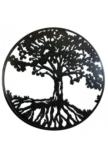 Round Metal Wall Art Decorative Wall Sculpture Natural Harmony Tree of Life Hanging Wall Decor in Matte Black