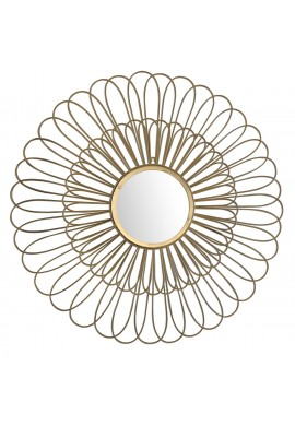 DecorShore 27 inch Decorative Wall Mirror and 3D Wire Wall Sculpture in Brushed Gold Floral Wire Wall Hanging