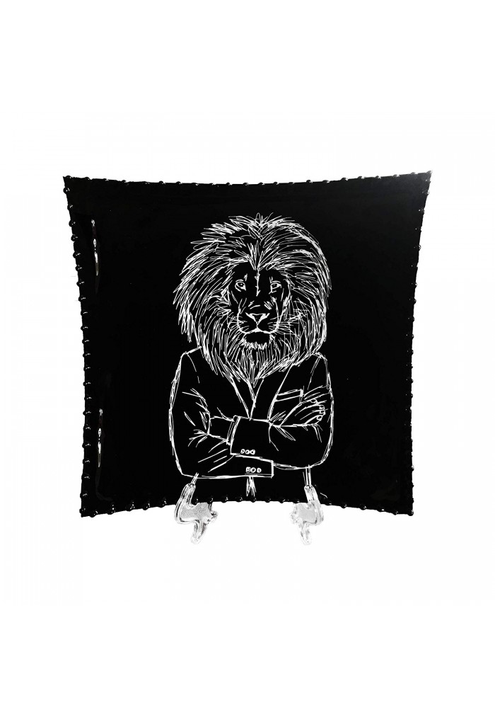 DecorShore 8x8 Decorative Tray with Display Stand with Black & White Lion in a Suit Metal Plate Tray with Glossy Finish
