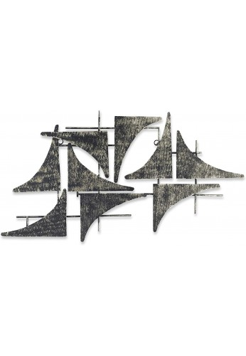 Handcrafted Nautical Sails Abstract Metal Wall Sculpture, Wall Decor Home Accent - Galvanized Iron Sheet Metal Art