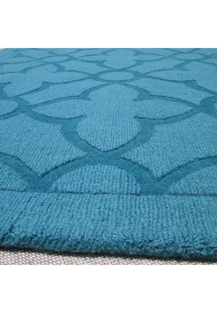 Buy Flamenco Turquoise Area Rug Hand Loomed Quatrefoil