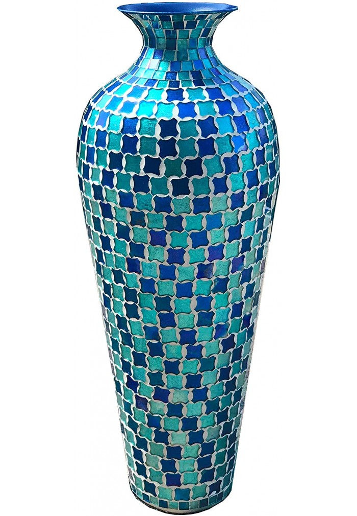 DecorShore Decorative Mosaic Vase - Tall Home Decor Geometric Pattern Metal Floor Vase with Glass Mosaic in Blue & Turquoise