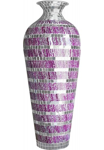 DecorShore Decorative Mosaic Vase - Geometric Pattern Metal Floor Vase with Glass Mosaic in Marbled Magenta Silver Wavy Shape