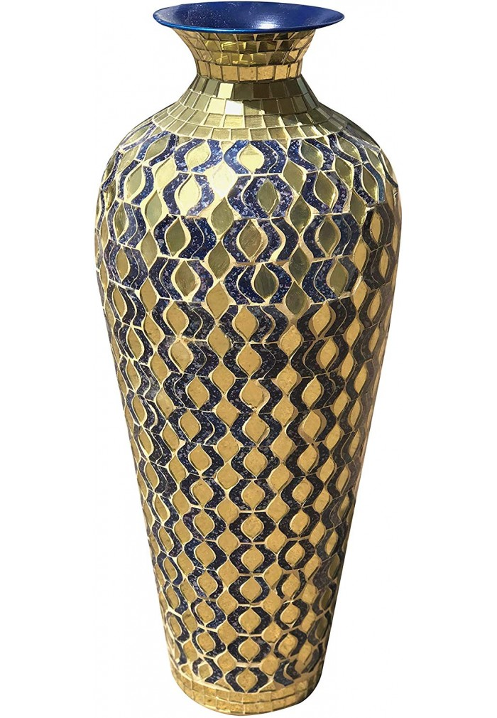Decors Bella Palacio Decorative Mosaic Vase Home Decor Metal Floor With Gl In Navy Blue Gold