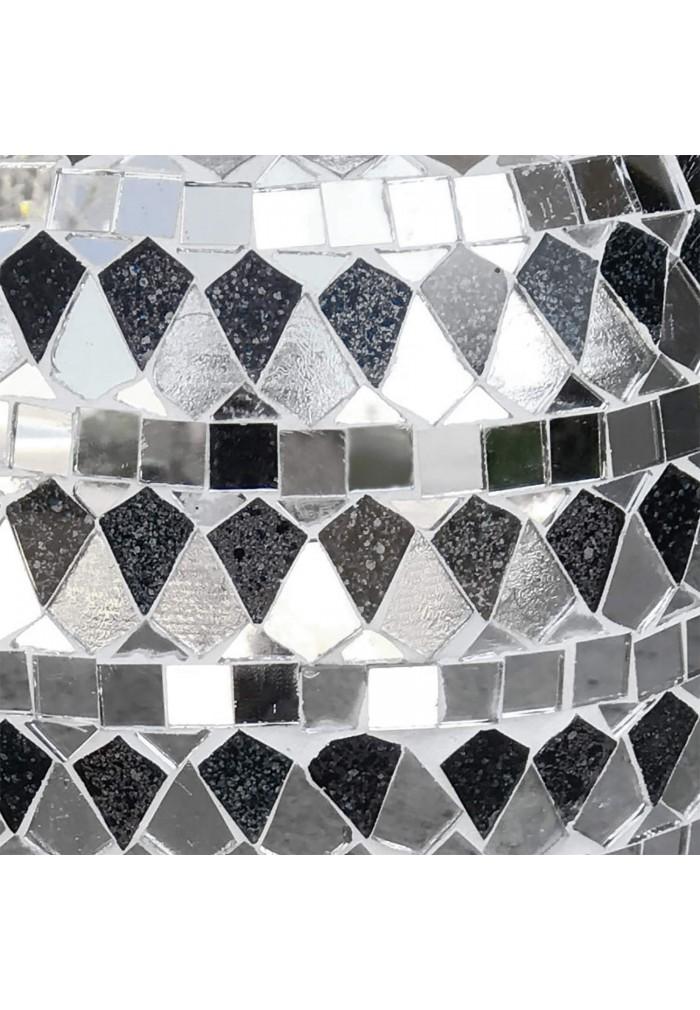 DecorShore Decorative Mosaic Vase - Large Metal Floor Vase with Glass Mosaic in Elegant Silver & Black Tessellation Pattern
