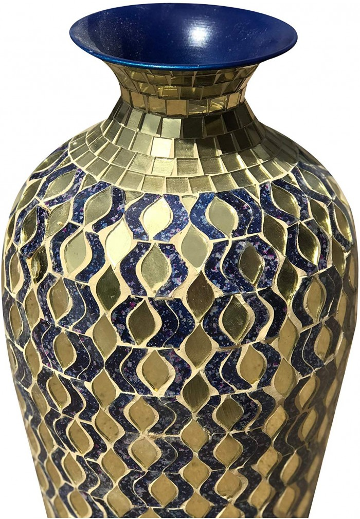 DecorShore Bella Palacio Decorative Mosaic Vase - Home Decor Metal Floor Vase with Glass Mosaic in Navy Blue & Gold