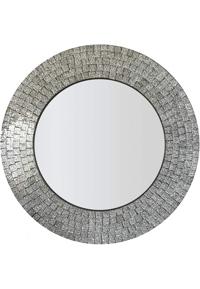 DecorShore 24 in. Glamorous Sparkling Glass Mosaic Wall Mirror Home Decor in Effervescent Silver