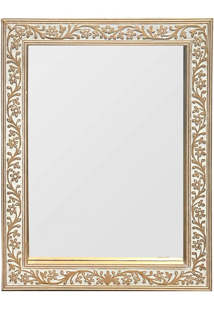 DecorShore Mango Wood Rectangular Wall Mirror Vintage Scroll Pattern Carving Gold Patina Finish