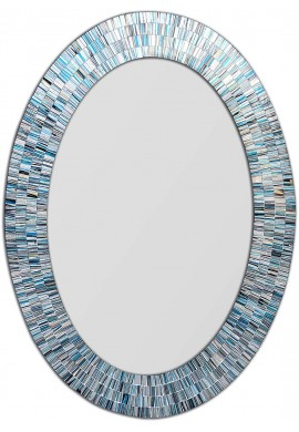 DecorShore Bohemian Rhapsody Coastal Blues Mosaic Mirror in Oval Shape Decorative Spectrum Hanging Wall Mirror