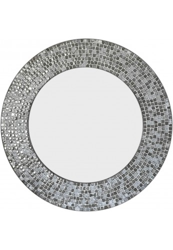 DecorShore 24 in. Ceramic Glass Mosaic Decorative Wall Mirror in Cool Gray Colors