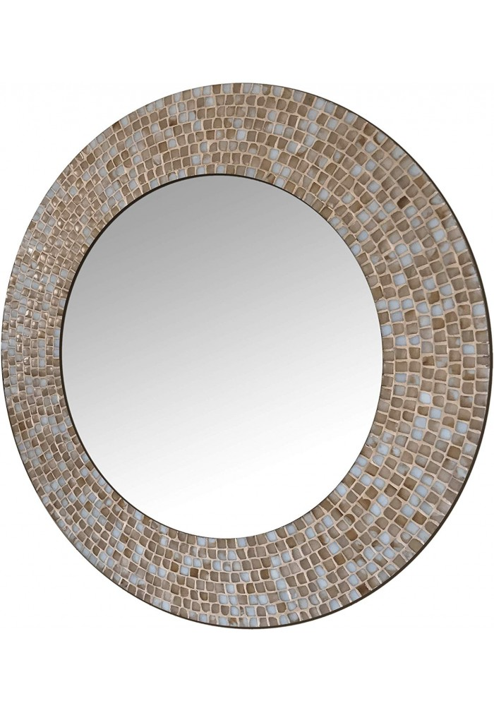 DecorShore 24 in. Ceramic Glass Mosaic Decorative Wall Mirror in Warm Beige Colors